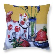 Spotted Cat With Strawberries Throw Pillow