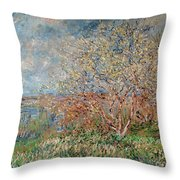 Spring Throw Pillow by Claude Monet