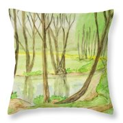Spring Landscape, Painting Throw Pillow