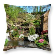 Springtime At The Old Mill Throw Pillow
