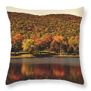 Squantz Pond In Autumn Throw Pillow