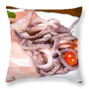 Squid Raw Cherry Tomatoes And Parsley Throw Pillow