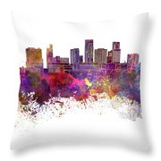 St. Paul Skyline In Watercolor Background Throw Pillow