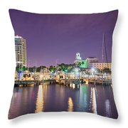 St Petersburg Florida City Skyline And Waterfront At Night Throw Pillow