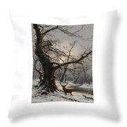 Stag In A Snow Covered Wooded Landscape Throw Pillow