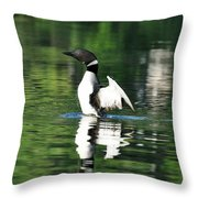 Standing Loon Throw Pillow