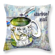 Starbucks Mug New York Throw Pillow