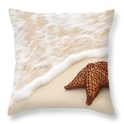 Starfish And Ocean Wave Throw Pillow by Elena Elisseeva