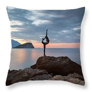 Statue In Budva Montenegro Throw Pillow