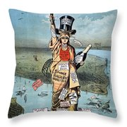 Statue Of Liberty Cartoon Throw Pillow
