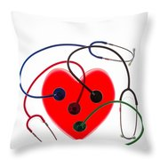 Stethoscopes And Plastic Heart Throw Pillow