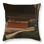 Still Life With Book Papers And Inkwell Throw Pillow