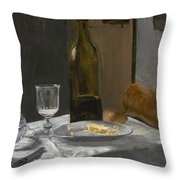 Still Life With Bottle Carafe Bread And Wine Throw Pillow