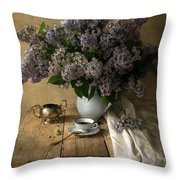 Still Life With Bouquet Of Fresh Lilacs Throw Pillow