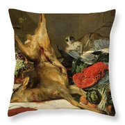 Still Life With Dead Game, A Monkey, A Parrot, And A Dog Throw Pillow