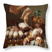 Still Life With Dressed Game, Meat And Fruit Throw Pillow