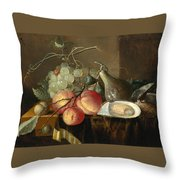 Still Life With Fruit And Oysters On A Table Throw Pillow