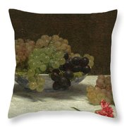 Still Life With Grapes And A Carnation Throw Pillow