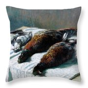 Still Life With Pheasants And Plovers Throw Pillow