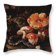 Still Life With Serpents, Fly Agarics And Thistles Throw Pillow