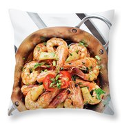 Stir Fry Prawns In Spicy Asian Pineapple And Herbs Sauce Throw Pillow