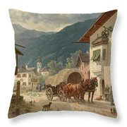 Stopping At The Coaching Inn Throw Pillow