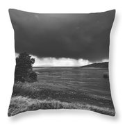 Storm Brewing Over The Mud Flats Throw Pillow