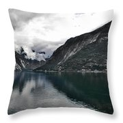Storm In The Fiord Throw Pillow