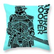 Stormtrooper - Star Wars Art - Blue Throw Pillow
