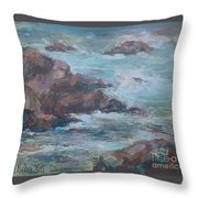Stormy Sea Seascape Throw Pillow