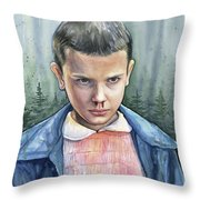 Stranger Things Eleven Portrait Throw Pillow