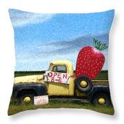 Strawberry Truck Throw Pillow