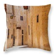 Street Sceane Mdina,malta Throw Pillow