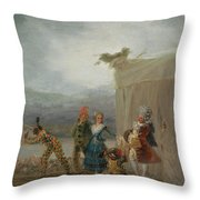 Strolling Players Throw Pillow