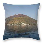 Stromboli Volcano, Aeolian Islands Throw Pillow