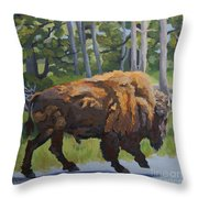 Strutting Along, Yellowstone Throw Pillow