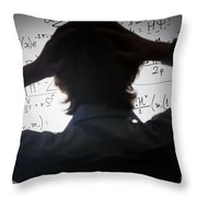 Student Holding His Head Looking At Complex Math Formulas On Whiteboard Throw Pillow