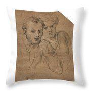 Studies Of Two Male Heads Throw Pillow