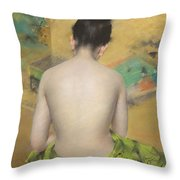 Study Of Flesh Color And Gold Throw Pillow