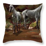 Study Of Wild Horses Throw Pillow
