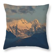 Stunning Landscape In The Italian Alps With A Cloudy Sky  Throw Pillow