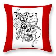 Sugar Skull #3  War And Peace Throw Pillow