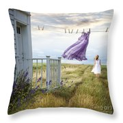 Summer Dress Blowing On Clothesline With Girl Walking Down Path Throw Pillow