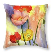 Summer Poppies Throw Pillow