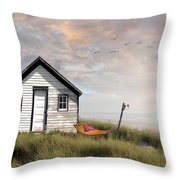 Summer Shack With Hammock By The Ocean Throw Pillow
