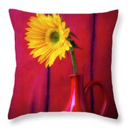 Sunflower In Red Pitcher Throw Pillow