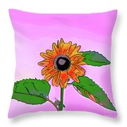 Illustration Of A Sunflower On A Pink Background Throw Pillow