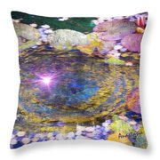Sunglint On Autumn Lily Pond II Throw Pillow