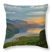 Sunrise At Columbia River Gorge Throw Pillow