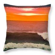 Sunrise Kissing Surf Throw Pillow